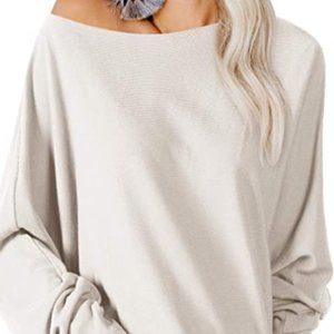 Tops - Women's knitting waistband off shoulder casual top